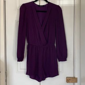 Long sleeve romper eggplant jewel tone